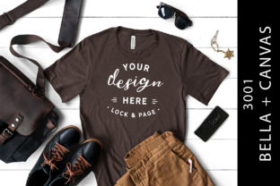 Male Brown Bella Canvas 3001 Tee Mockup Graphic Product Mockups By lockandpage