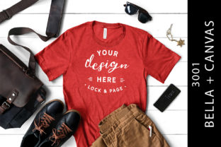 Male Heather Red Bella Canvas 3001 Tee Graphic Product Mockups By lockandpage