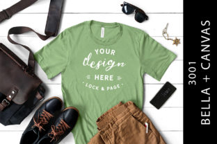 Male Leaf Bella Canvas 3001 Shirt Mockup Graphic Product Mockups By lockandpage