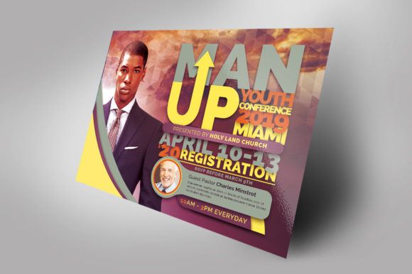 Download Free Man Up Church Conference Flyer Graphic By Seraphimchris for Cricut Explore, Silhouette and other cutting machines.