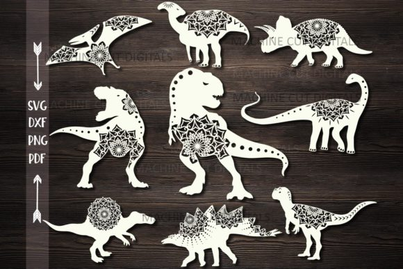 Mandala Floral Dinosaurs Bundle Cut out Graphic Crafts By Cornelia