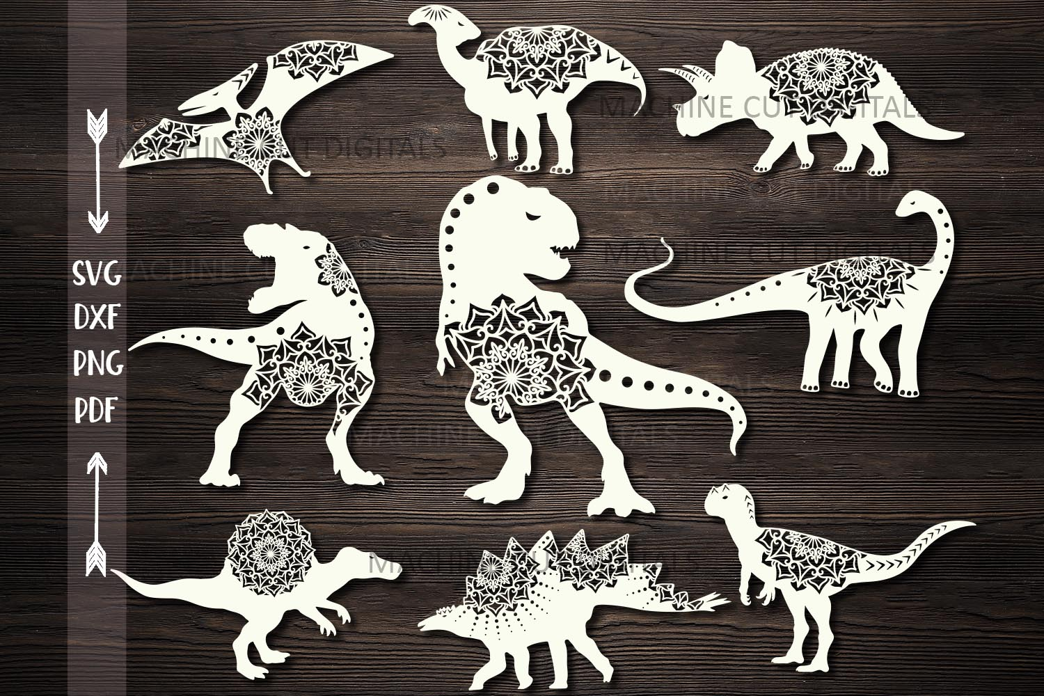 Download Free Mandala Floral Dinosaurs Bundle Cut Out Graphic By Cornelia for Cricut Explore, Silhouette and other cutting machines.