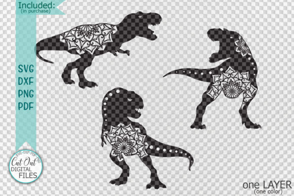 Download Free Mandala Floral T Rex Dinosaurs Cut Out Graphic By Cornelia for Cricut Explore, Silhouette and other cutting machines.