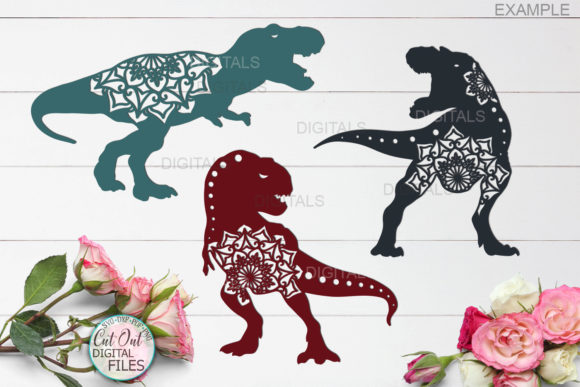 Download Free Mandala Floral T Rex Dinosaurs Cut Out Grafik Von Cornelia SVG Cut Files