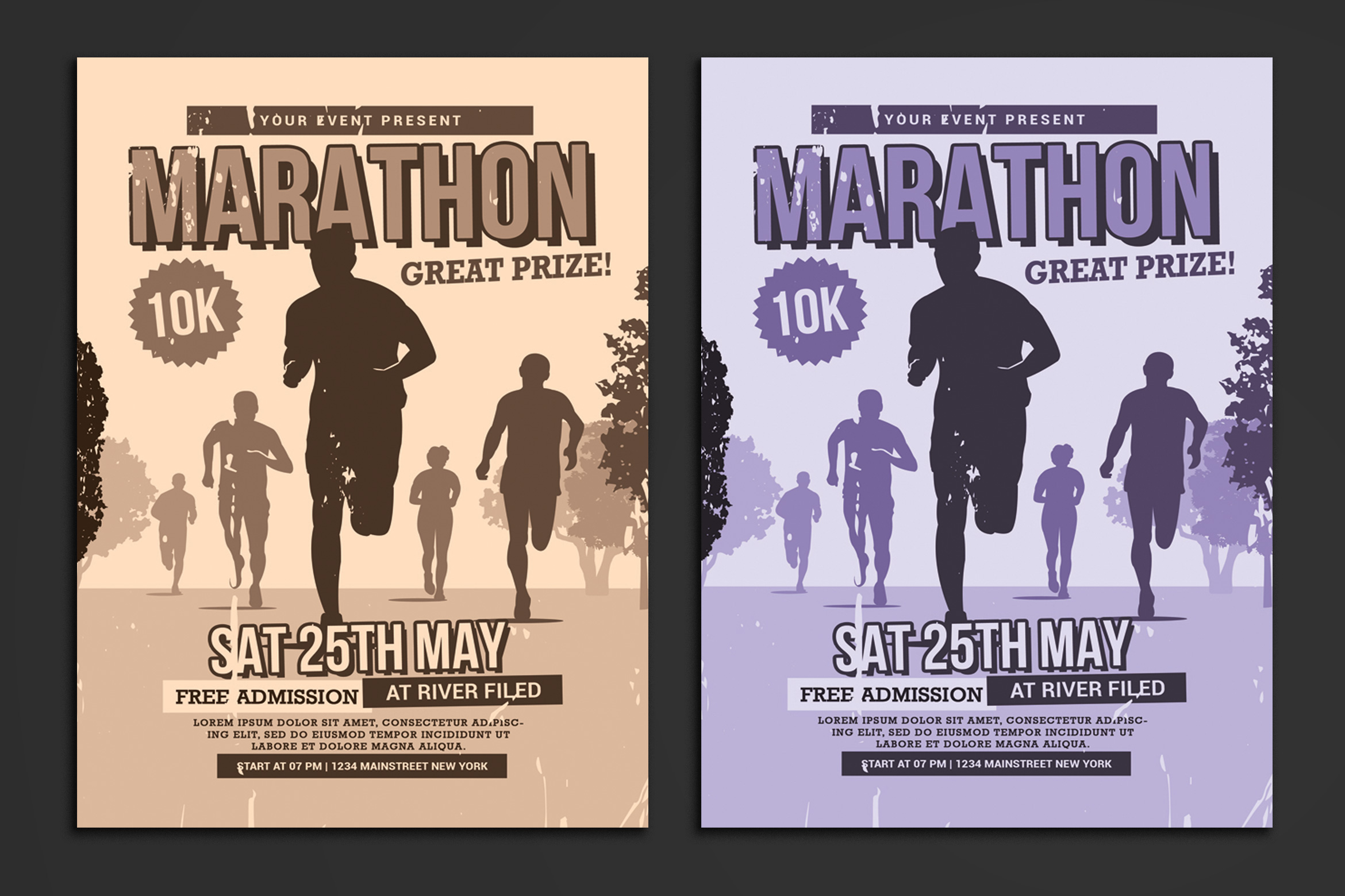 Download Free Marathon Flyer Graphic By Muhamadiqbalhidayat Creative Fabrica for Cricut Explore, Silhouette and other cutting machines.