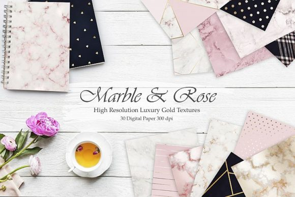 Print on Demand: Marble, Rose, Gold, Navy Blue 30 Texture Graphic Patterns By Creative Paper