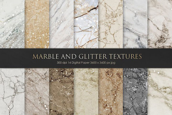 Print on Demand: Marble and Glitter Textures, Backgrounds Graphic Textures By Creative Paper - Image 2