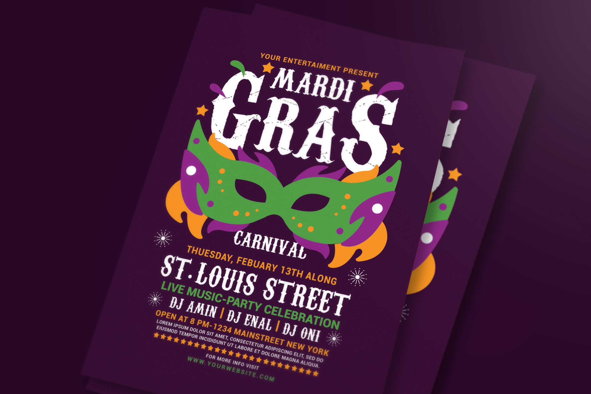 Download Free Mardi Gras Flyer Template Graphic By Muhamadiqbalhidayat for Cricut Explore, Silhouette and other cutting machines.