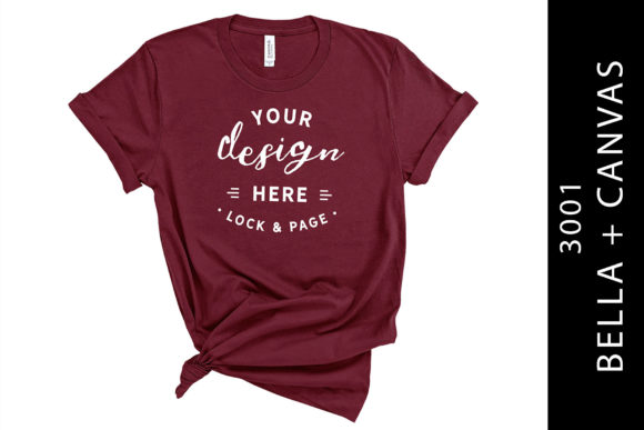 Maroon Bella Canvas 3001 T-Shirt Mockup Graphic Product Mockups By lockandpage