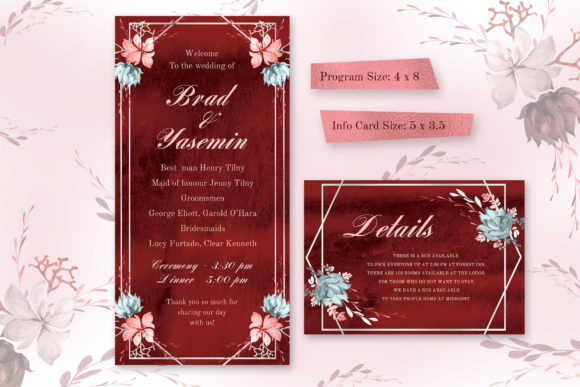Download Free Marsala Wedding Invitation Suite Graphic By Iradvilyuk for Cricut Explore, Silhouette and other cutting machines.