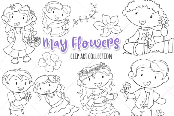 Print on Demand: May Flowers (Black and White) Graphic Illustrations By Keepinitkawaiidesign