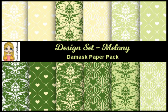Melony - Damask Paper Pack Graphic By Aisne