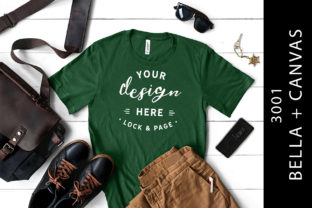 Mens Evergreen Bella Canvas 3001 Mockup Graphic Product Mockups By lockandpage