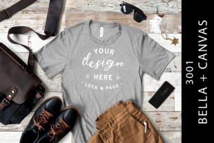 Mens Heather Athletic Bella Canvas 3001 Graphic Product Mockups By lockandpage