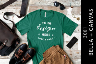 Men's Kelly Bella Canvas 3001 Tee Mockup Graphic Product Mockups By lockandpage