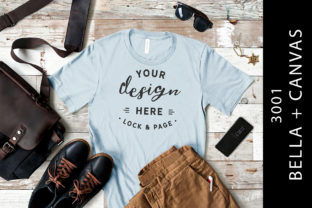 Mens Light Blue Bella Canvas 3001 Mockup Graphic Product Mockups By lockandpage