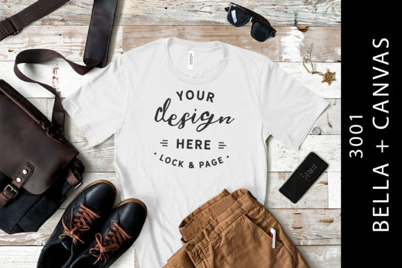Download Free Mens White Bella Canvas 3001 Tee Mockup Graphic By Lockandpage for Cricut Explore, Silhouette and other cutting machines.