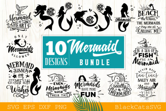 Download Free Mermaid Bundle Svg Vol 1 Grafik Von Blackcatsmedia Creative for Cricut Explore, Silhouette and other cutting machines.