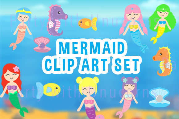Download Free Mermaid Clip Art Set Graphic By Party With Unicorns Creative for Cricut Explore, Silhouette and other cutting machines.