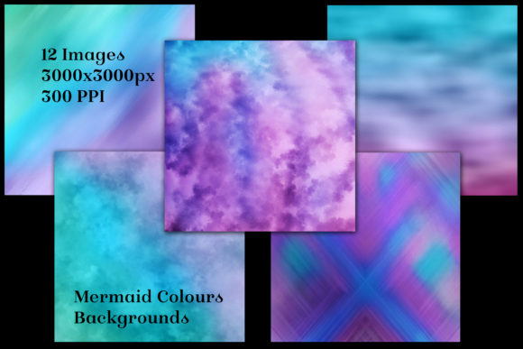 Print on Demand: Mermaid Colours Backgrounds - 12 Images Graphic Backgrounds By SapphireXDesigns - Image 2