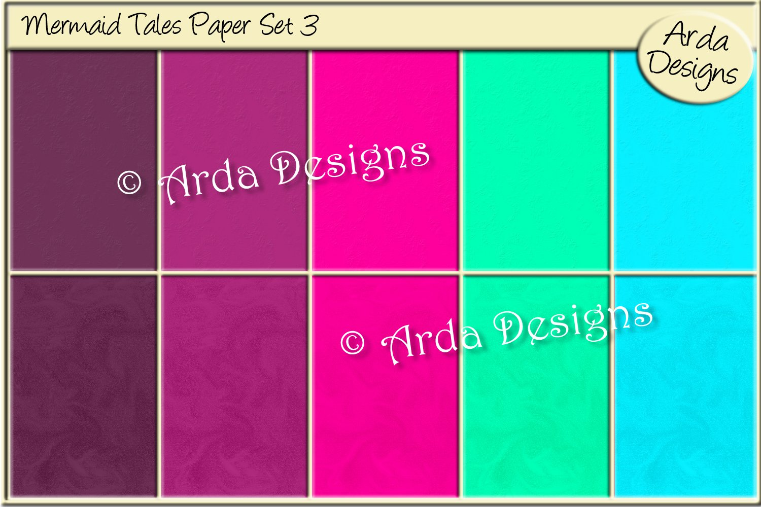 Download Free Mermaid Tales Paper Set 3 Graphic By Arda Designs Creative Fabrica for Cricut Explore, Silhouette and other cutting machines.