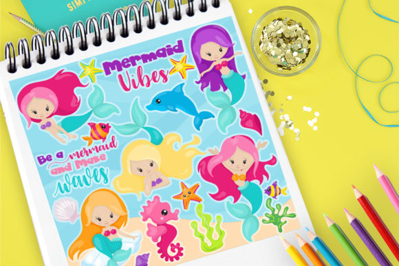 Print on Demand: Mermaid Vibes Clip Art Graphic Illustrations By Prettygrafik