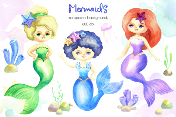 Print on Demand: Mermaids. Watercolor Cliparts Set. Graphic Illustrations By Olga Belova - Image 2