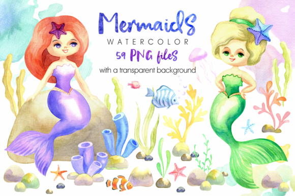 Print on Demand: Mermaids. Watercolor Cliparts Set. Graphic Illustrations By Olga Belova - Image 1