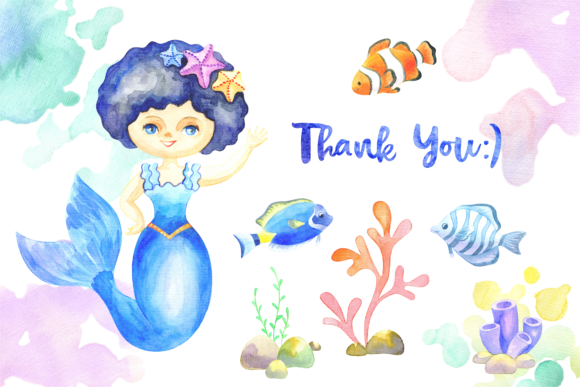 Print on Demand: Mermaids. Watercolor Cliparts Set. Graphic Illustrations By Olga Belova - Image 7