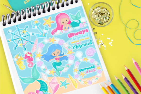 Print on Demand: Mermaids Clip Art Set Graphic Illustrations By Prettygrafik