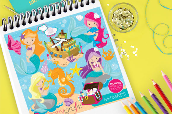 Print on Demand: Mermaids Clip Art Graphic Illustrations By Prettygrafik