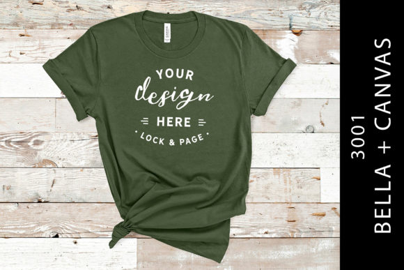 Military Green Bella Canvas 3001 Mockup Graphic Product Mockups By lockandpage