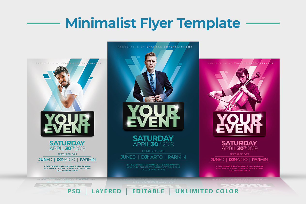 Download Free Minimalist Music Flyer Template Graphic By Yantodesign for Cricut Explore, Silhouette and other cutting machines.
