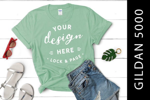 Download Free Mint Green Gildan 5000 T Shirt Flat Lay Graphic By Lockandpage for Cricut Explore, Silhouette and other cutting machines.