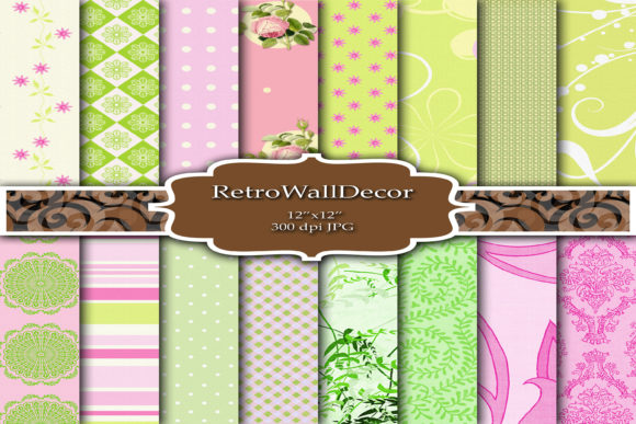 Print on Demand: Mint and Pink Digital Papers Graphic Backgrounds By retrowalldecor