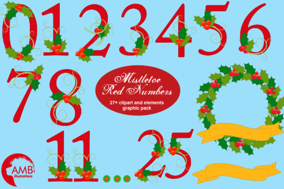 Download Free Mistletoe Red Numbers Clipart Amb 2128 Graphic By for Cricut Explore, Silhouette and other cutting machines.
