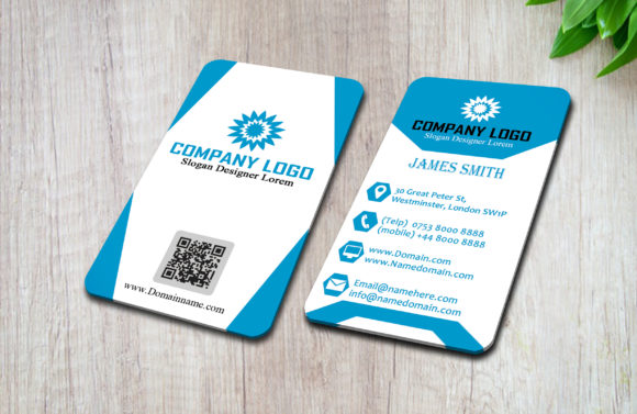 Download Free Modern Vertical Business Card Graphic By Polahdesign Creative for Cricut Explore, Silhouette and other cutting machines.