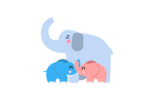 Mom and 2 Baby Elephants Craft Design By Creative Fabrica Crafts