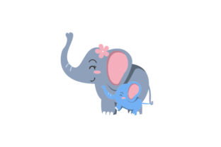 Mom and Baby Elephant Holding Tails Craft Design By Creative Fabrica Crafts