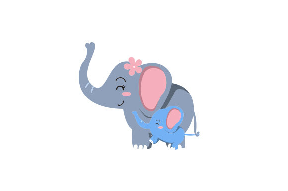 Download Free Mom And Baby Elephant Holding Tails Svg Cut File By Creative for Cricut Explore, Silhouette and other cutting machines.