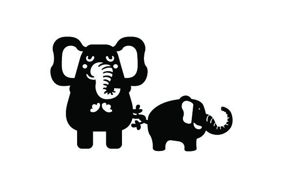 Download Free Mom Baby Elephant Holding Tails Svg Cut File By Creative for Cricut Explore, Silhouette and other cutting machines.