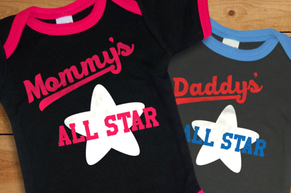 Download Free Mommy S And Daddy S All Star Baby Graphic By Designedbygeeks for Cricut Explore, Silhouette and other cutting machines.