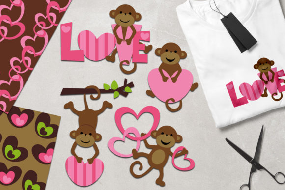 Print on Demand: Monkey Love Gráfico Ilustraciones Por Revidevi