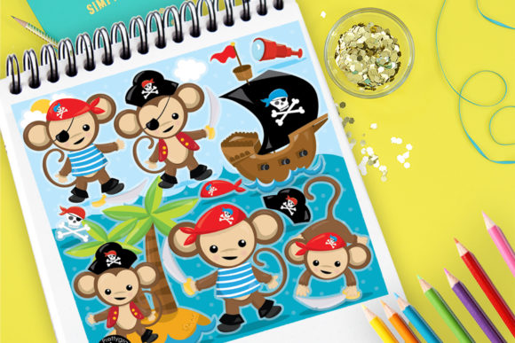 Print on Demand: Monkey Pirates Graphic Illustrations By Prettygrafik