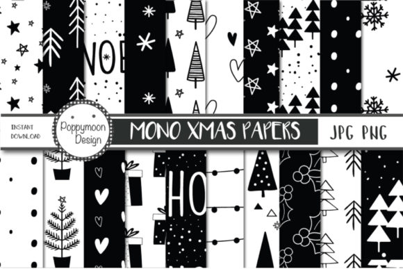 Print on Demand: Mono Christmas Papers Graphic Patterns By poppymoondesign