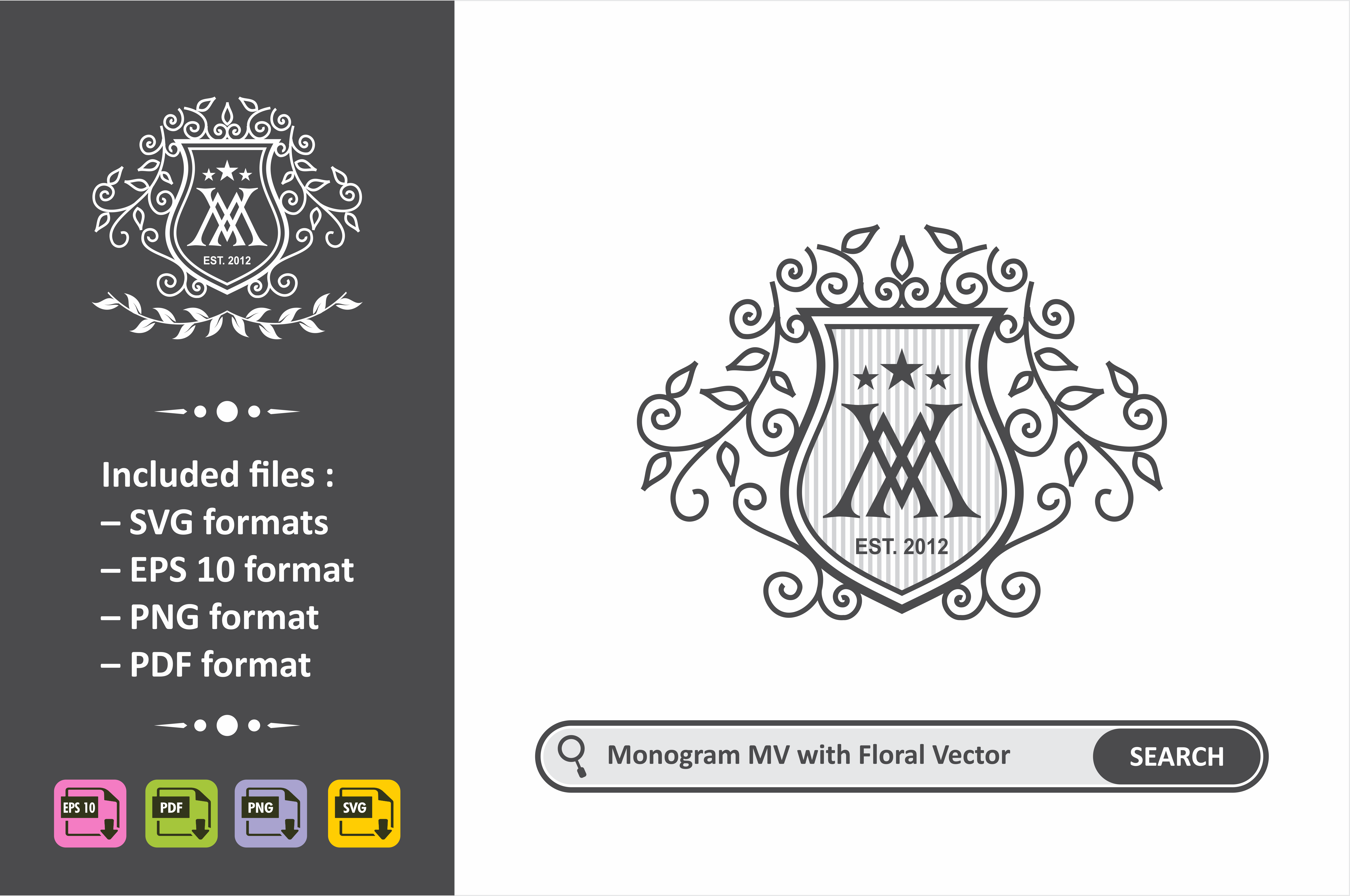 Download Free Monogram Mv Logo Vector Template Graphic By Ahsancomp Studio for Cricut Explore, Silhouette and other cutting machines.