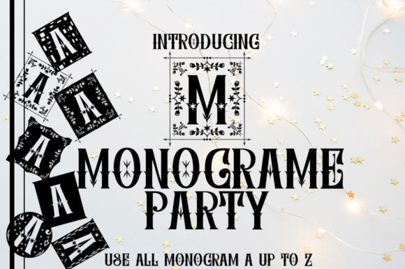 Print on Demand: Monograme Party Display Font By jehansyah251