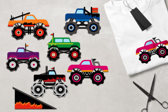 Download Free Monster Trucks Graphic By Revidevi Creative Fabrica for Cricut Explore, Silhouette and other cutting machines.