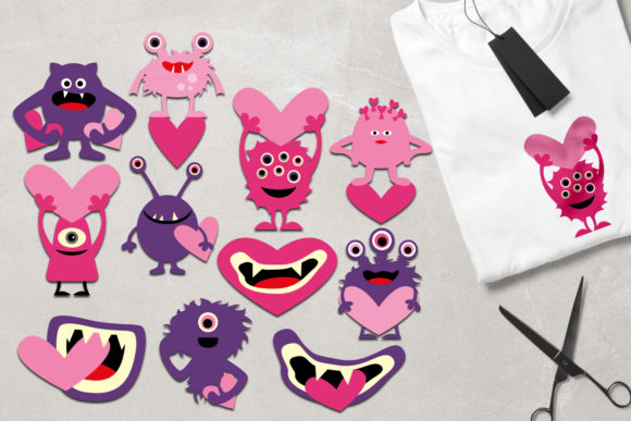 Print on Demand: Monsters Pink Purple Graphic Illustrations By Revidevi