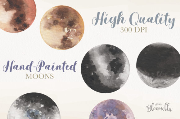 Moon Watercolor Sky Night Painted Dark Graphic By Bloomella Image 2